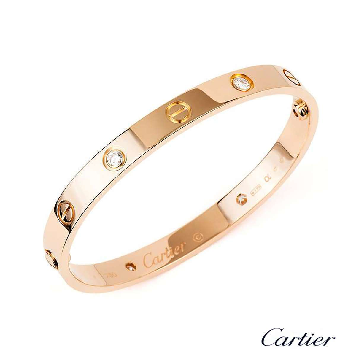 c3121f1ff Cartier Rose Gold Half Diamond Love Bracelet Size 17 B6036017